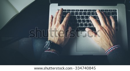 Businessman Working Typing Connect Notebook Concept - stock photo