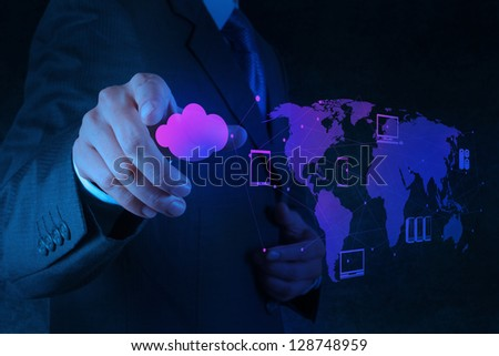 Businessman working with a Cloud Computing diagram on the new computer interface - stock photo