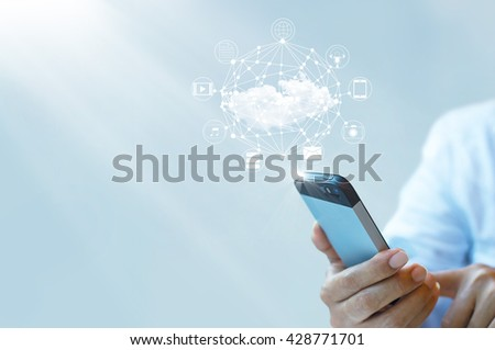 Businessman working with a Cloud Computing on Smartphone  - stock photo