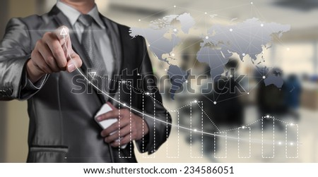 businessman working with digital chart, business improvement concept