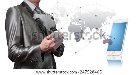 Businessman working with digital object, business globalization concept