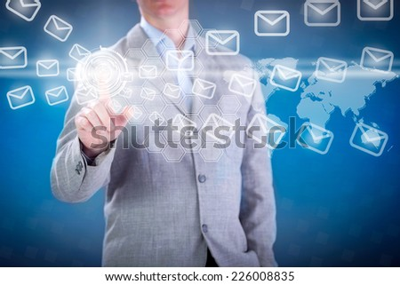 Businessman working with digital virtual screen - stock photo