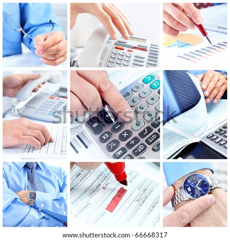 Businessman working with documents and calculator - stock photo