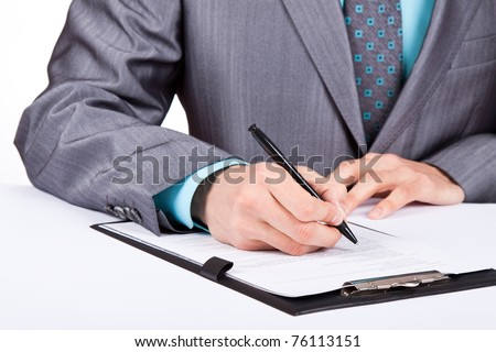 Businessman working with documents sign up contract isolated over white background - stock photo
