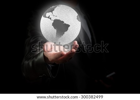 Businessman working with globalization concept, show South America Continent