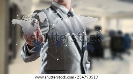 Businessman working with globalization marketing concept - stock photo