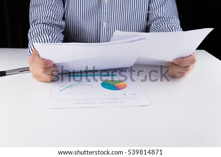 Businessman working with his document