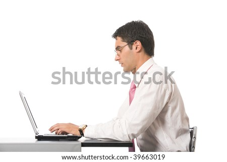 Businessman working with laptop at office, isolated on white