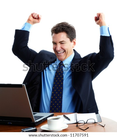 Businessman  working with laptop. Over white background - stock photo