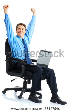 Businessman  working with laptop. Over white background