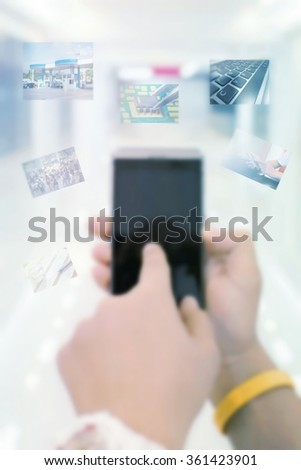 Businessman Working With Modern Devices, Digital Computer And Mobile Phone( Background Blur) - stock photo
