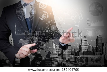 businessman working with modern technology  effect as business strategy concept - stock photo