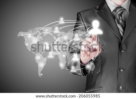 businessman working with new modern computer show - stock photo