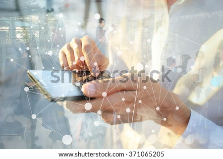 Businessman working with smartphone. Concept of modern technology, network connection. Image closed up hand make multiple layers and blur lens flare with blank space. - stock photo