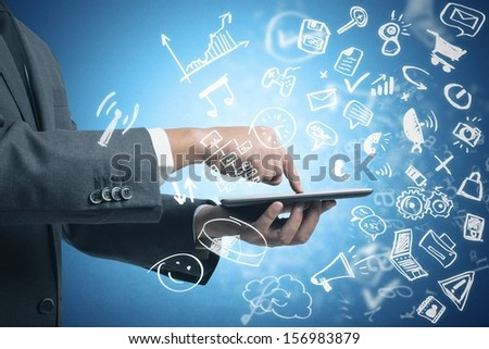 Businessman working with tablet and social media with modern sketch symbol - stock photo