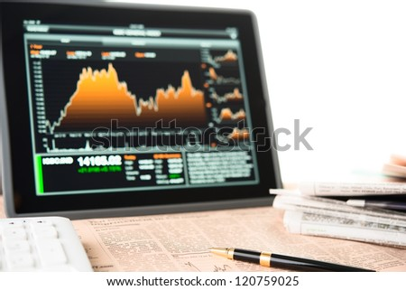 Businessman workplace with digital tablet computer - stock photo