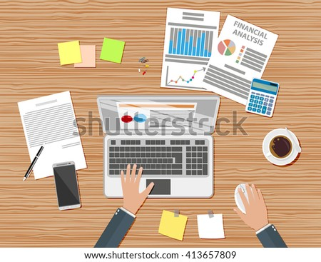 Businessman workplace wooden desk. Hands Working Laptop with wireless mouse. Table with coffee cup, smartphone, financial documents, pen, calculator, sticky notes. illustration in flat design - stock photo