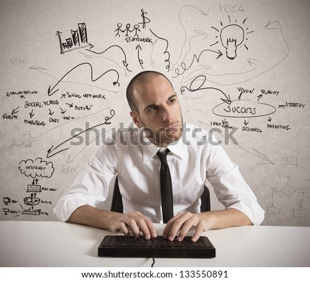 Businessman works for a business project - stock photo