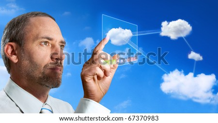businessman works with cloud computer
