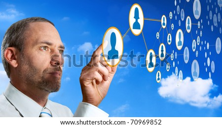 Businessman works with Future Social Network Display - stock photo