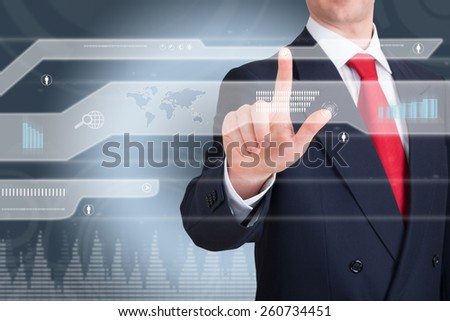 Businessman works with huge touch screen