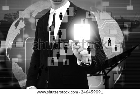 Businessman works with Social Network Display - stock photo