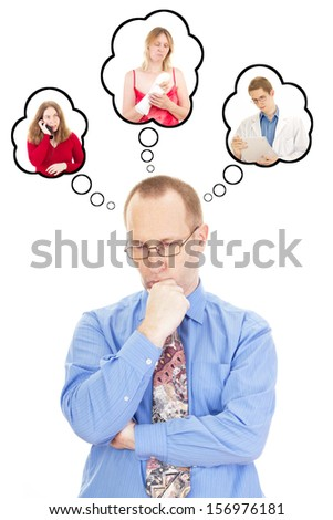Businessman worried about his wife who had an accident - stock photo