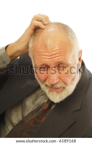 Businessman worried and stressed out; isolated on white - stock photo