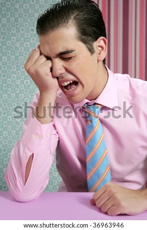 Businessman worried headache stressed and sad by work - stock photo