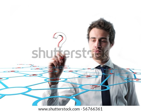 businessman write and looking for answer - stock photo