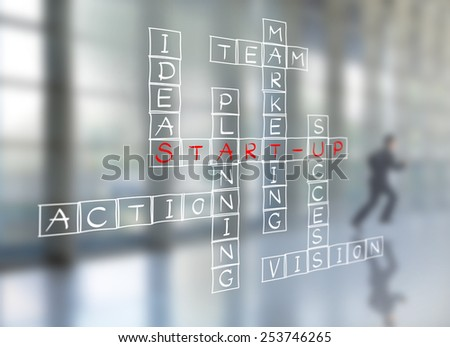 Businessman write business start-up diagram on wall glass, Planning concept