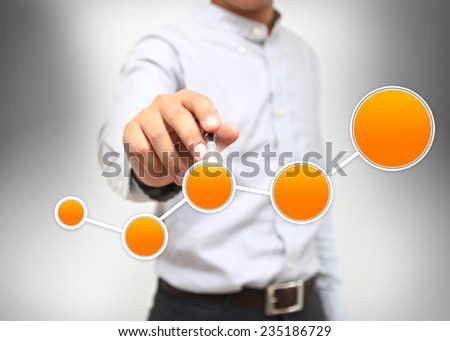 Businessman write diagram.  - stock photo