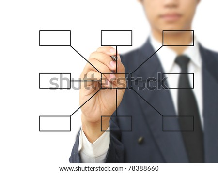 Businessman write diagram