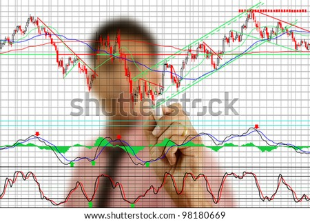 Businessman write finance graph for trade stock market on the whiteboard. - stock photo