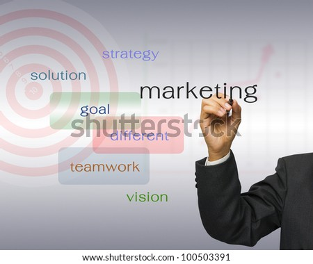 Businessman write keyword success with target on background - stock photo
