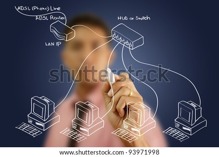 Businessman write LAN diagram on the whiteboard. - stock photo