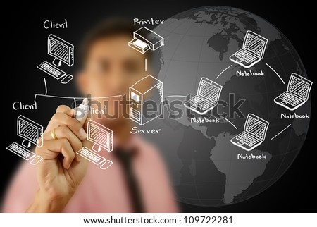 Businessman write LAN Network diagram on the whiteboard. - stock photo