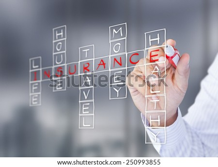 Businessman write life insurance, house insurance, home insurance, travel insurance, health insurance - stock photo