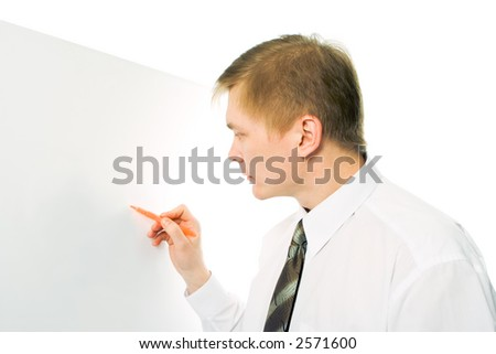 businessman write marker on the white desk on whie background - stock photo