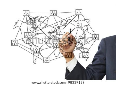 Businessman write social network - stock photo