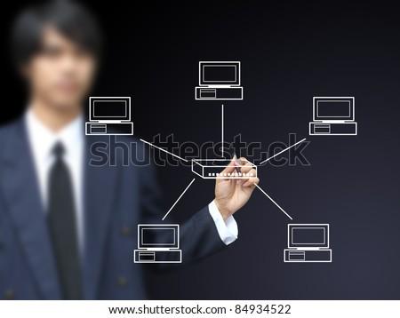 Businessman write Star topology - stock photo