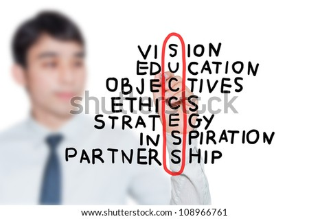 Businessman write SUCCESS factor - stock photo