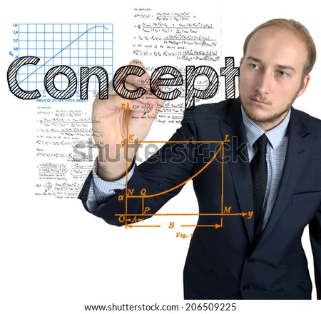 Businessman writes and sketches Concept concept on white background