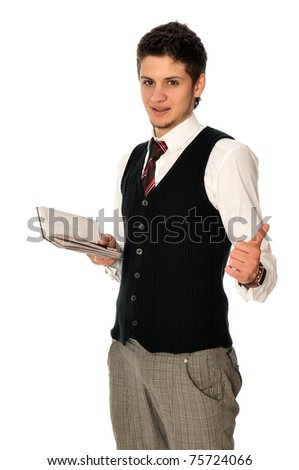 businessman writing a daily plan of action in his notebook - stock photo