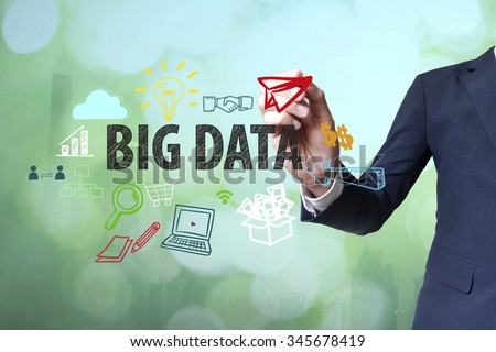 Businessman writing and drawing big data concept on blurred abstract background , business concept  - stock photo