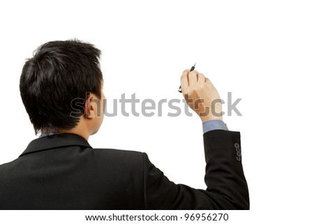 Businessman writing and pen on white background - stock photo