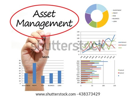Businessman writing Asset Management in red circle on virtual screen. Business, banking, finance and investment concept. - stock photo