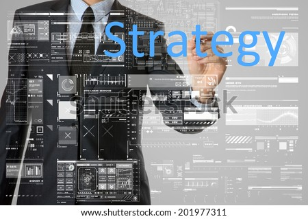 businessman writing business strategy concept  - stock photo