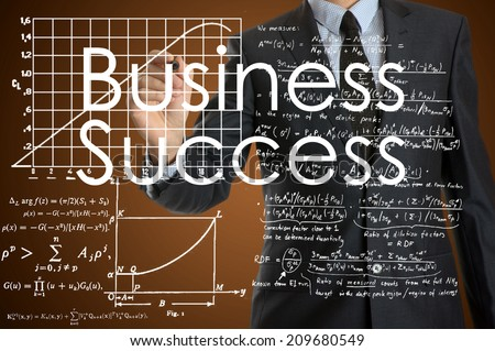 businessman writing business terminology on virtual screen with modern business or technology background - Business Success