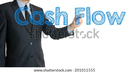 businessman writing cash flow